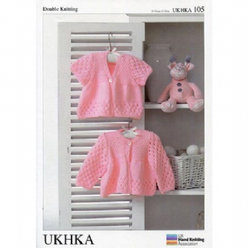 "Baby Girls Pretty Round & Short Sleeved Cardigans DK Knitting Pattern (16""-20""). UKHKA 105"
